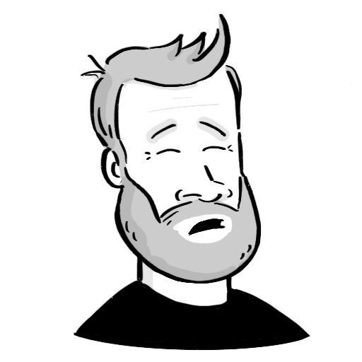 cartoon of andrew's face - smiling bearded white person